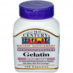 Желатин 600 мг 100 капсули | 21st Century
